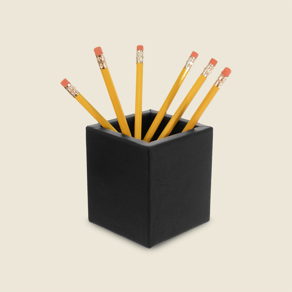 Black Leather Pencil Cup