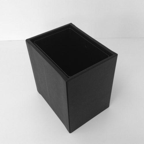 Black Leather Wastebasket Top View