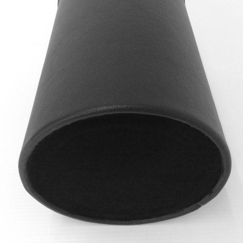Round Black Leather Wastebasket Bottom View