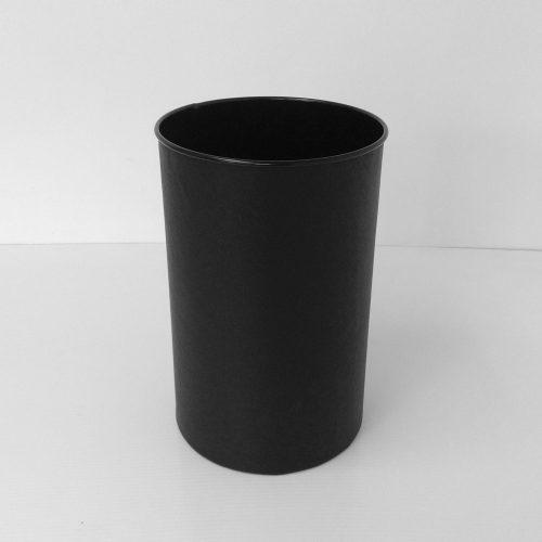 Round Black Leather Wastebasket Front View