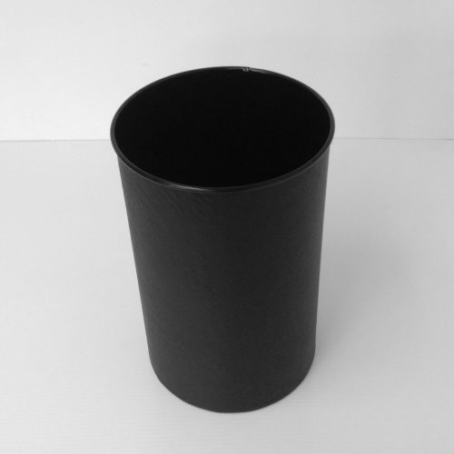 Round Black Leather Wastebasket Top View