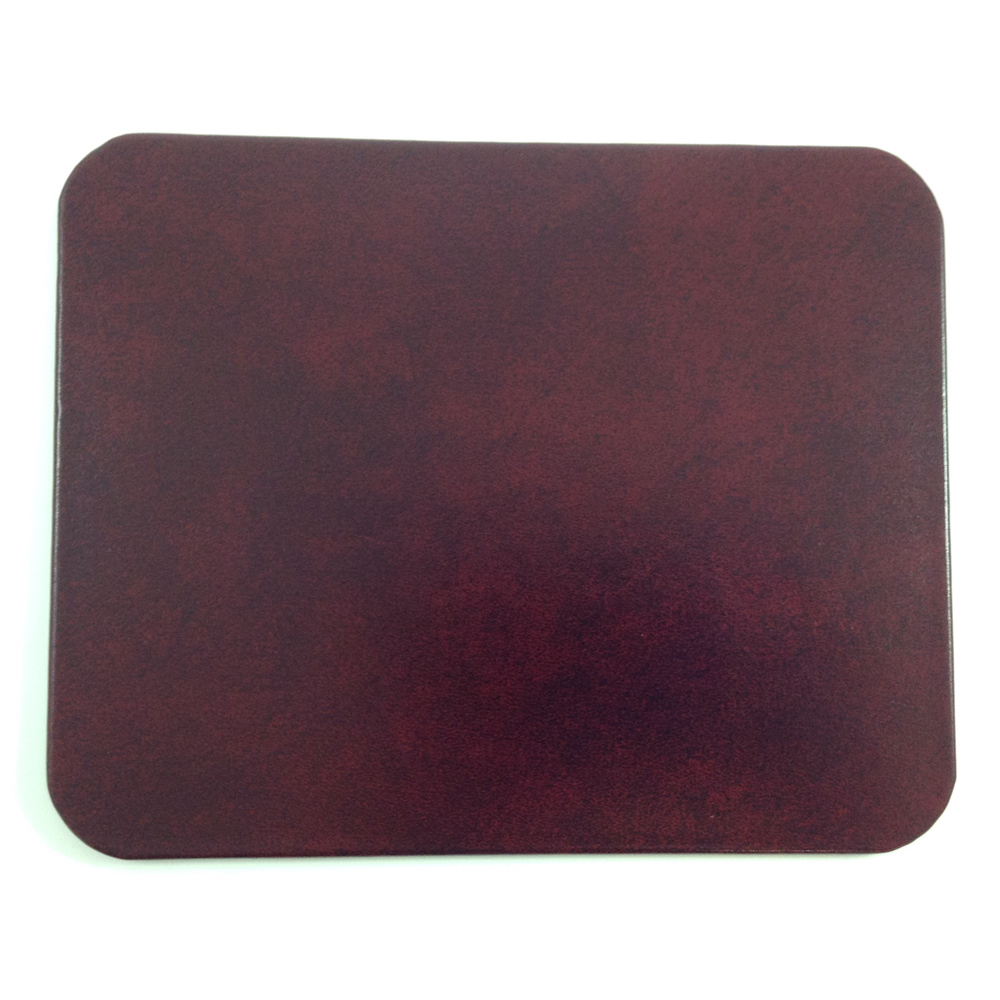 Burgundy Glazed Leather Desk Pad Glossy Finished Genuine