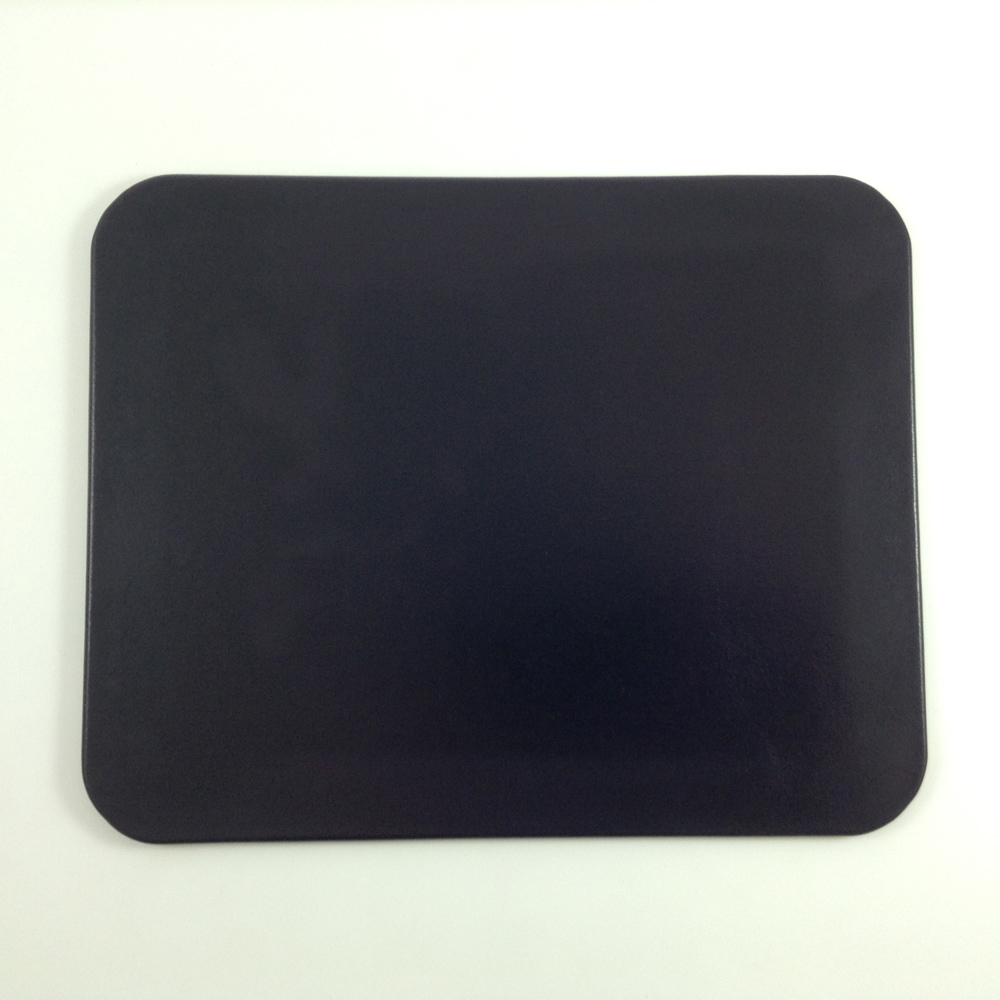 Glazed Navy Leather Desk Pad on decorative trash cans
