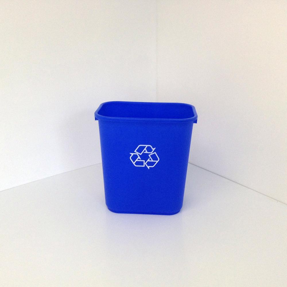 Blue Plastic Office Recycling Bin Wastebasket Prestige