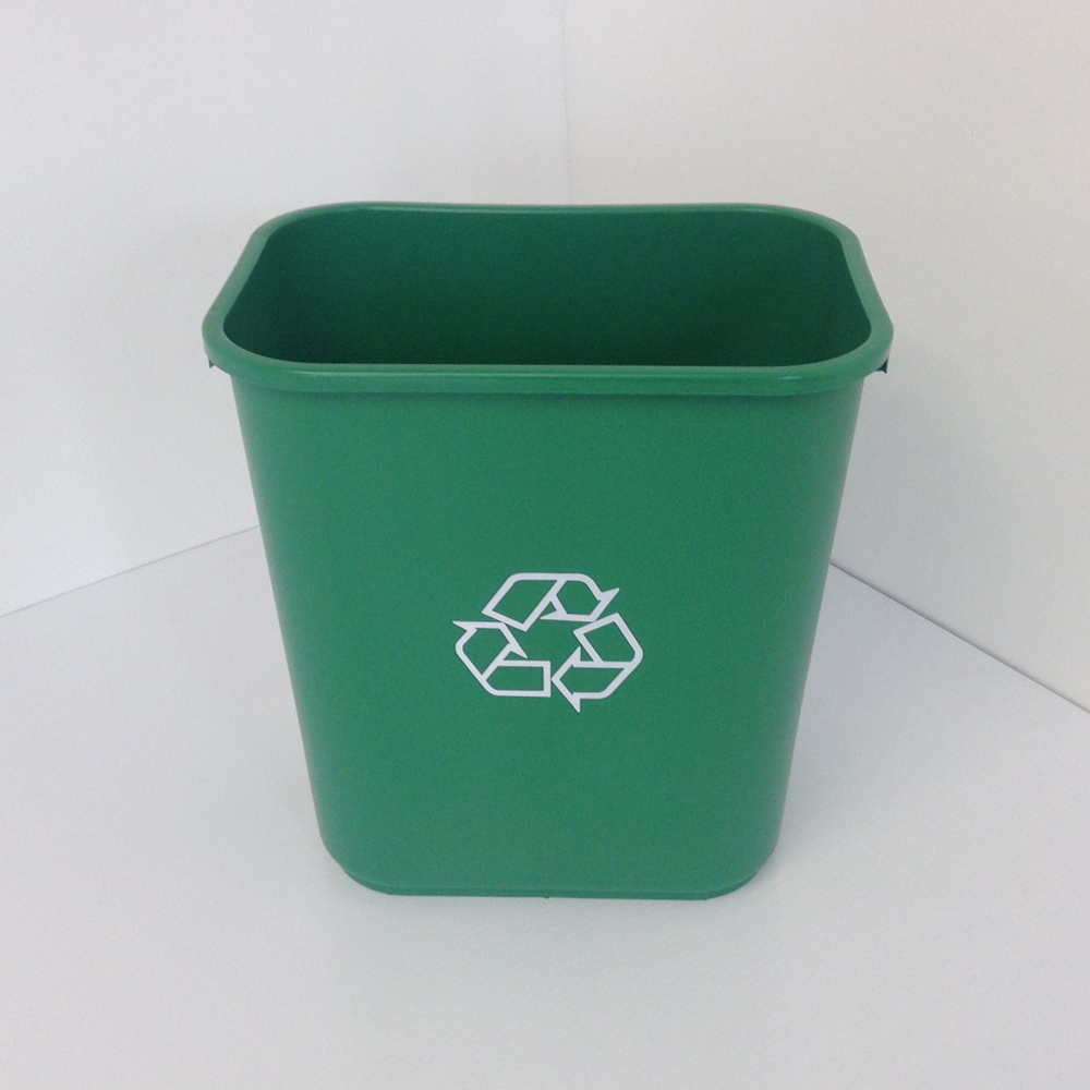 Green Plastic Recycling Bin Wastebasket Prestige Office