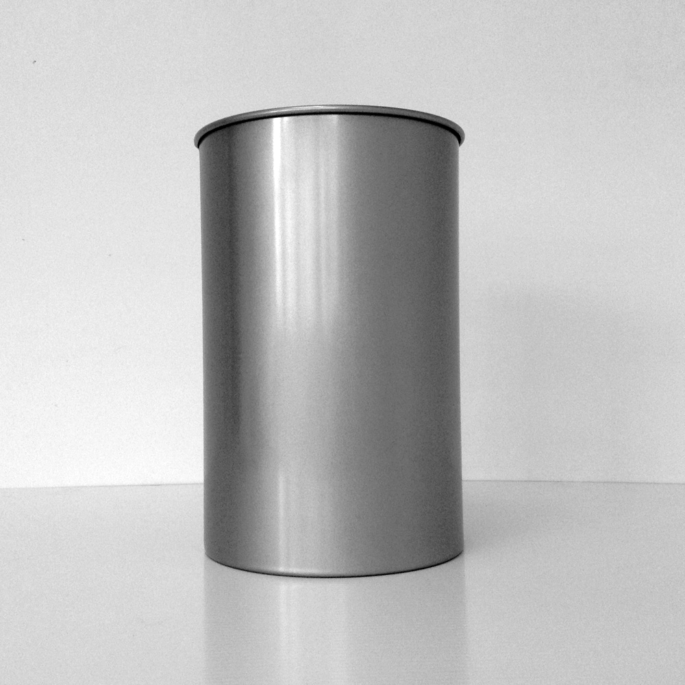 Round Steel Wastebasket With Clear Aluminum Finish