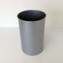 Tall Round Silver Metal Wastebasket