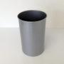 Tall Round Silver Metal Wastebasket