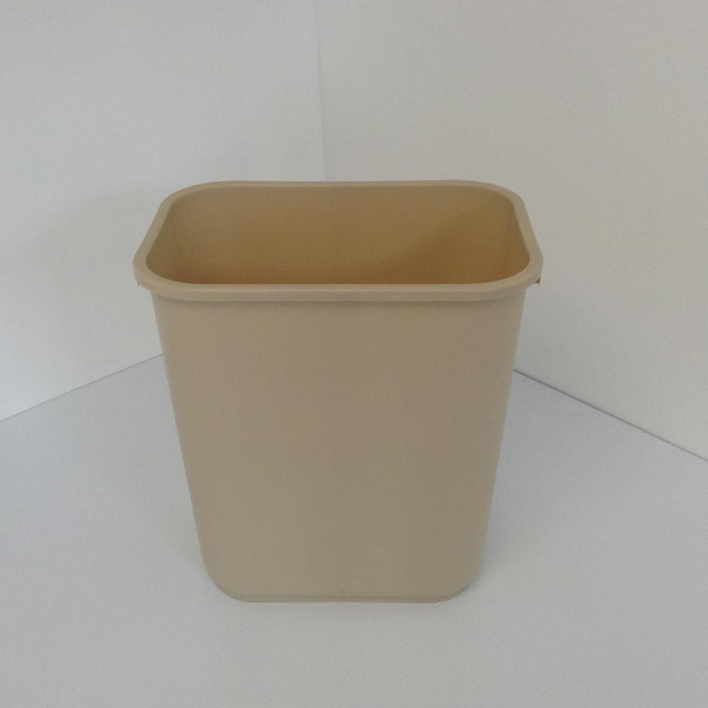 Tan Plastic Wastebasket