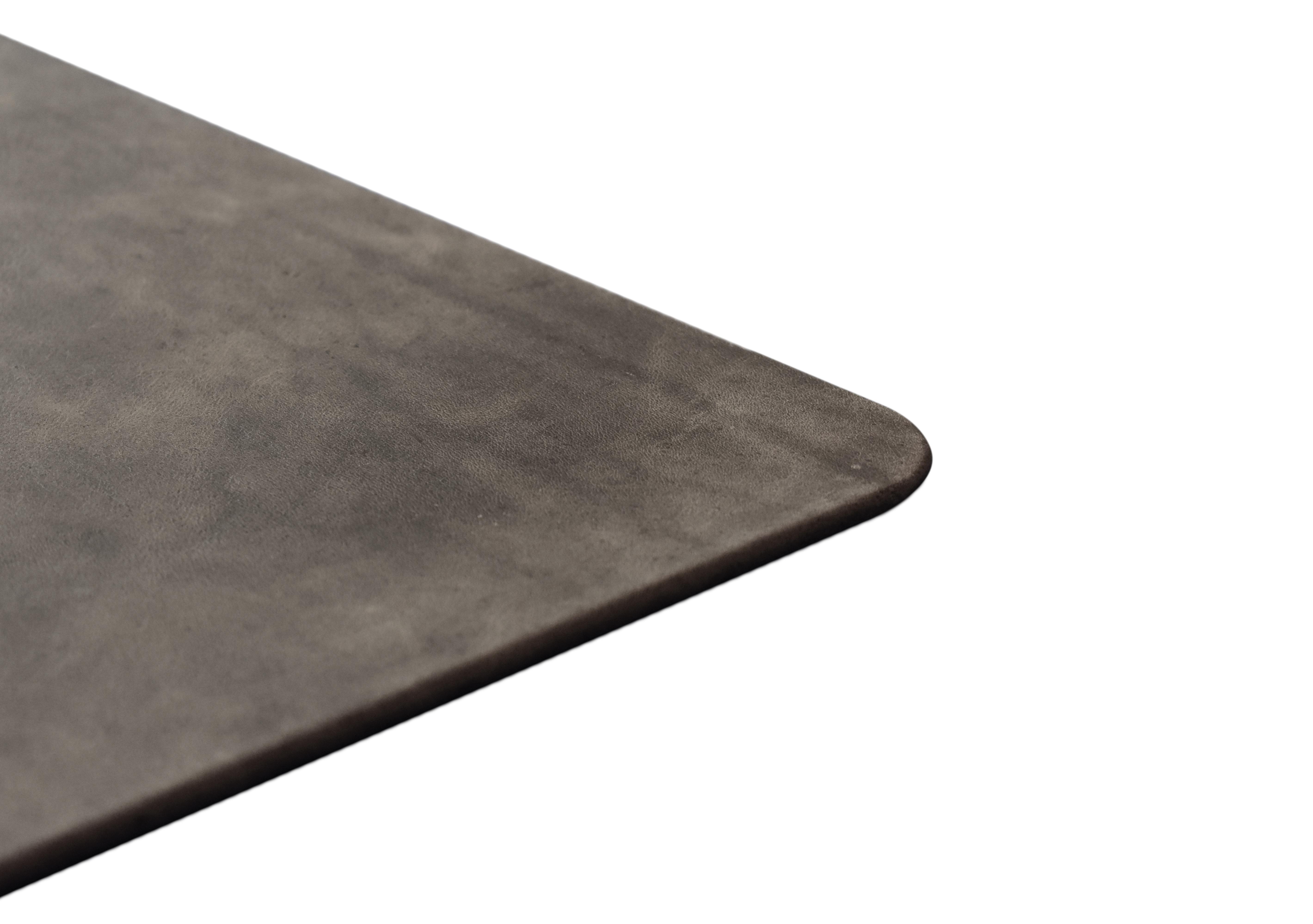 Vintage Dark Grey Leather Desk Pad Distressed Genuine