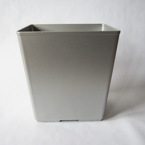 SILVER SELF-EXTINGUISHING PLASTIC WASTEBASKET