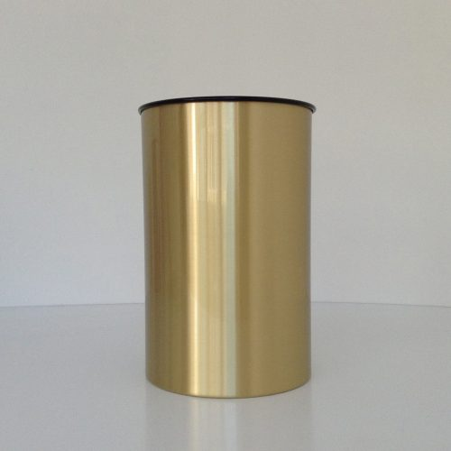 Satin Brass Wastebasket Front View