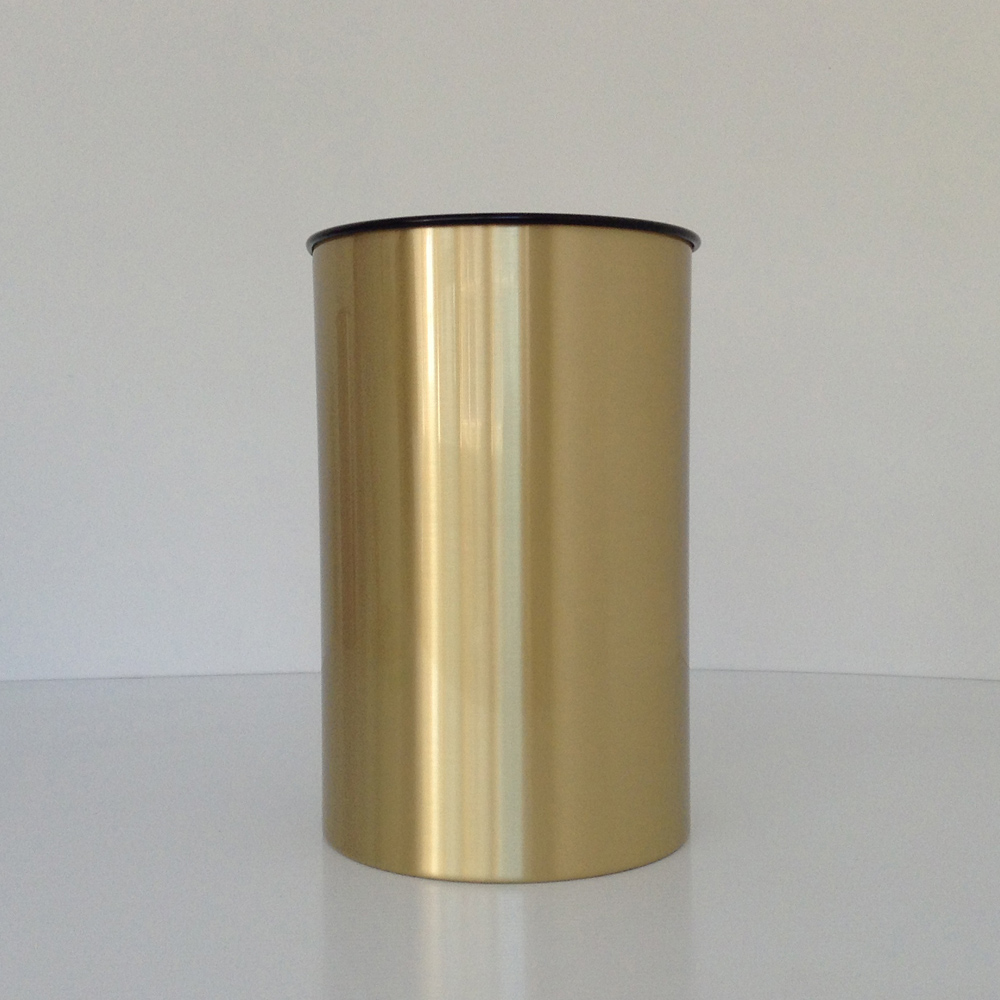 Brass Wastebasket With Satin Finish Office Prestige