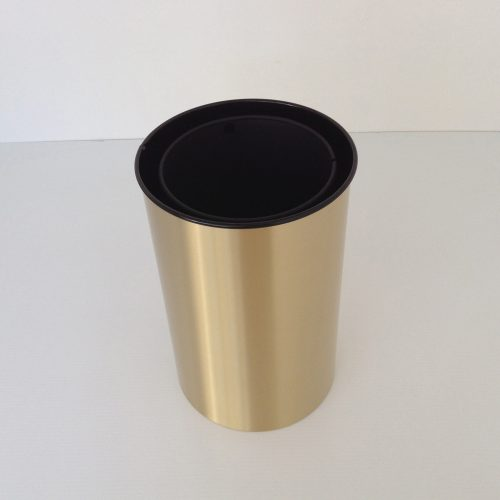 Satin Brass Wastebasket and Metal Liner Top View