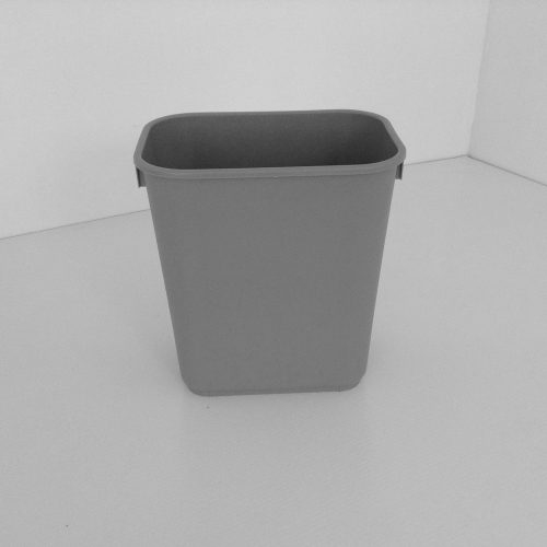 Small Grey Plastic Wastebasket Front View