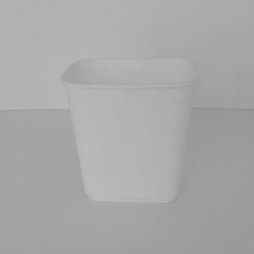 Small White Plastic Wastebasket Front View