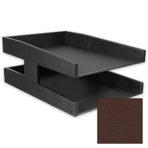 Classic Chestnut Brown Double Leather Letter Tray