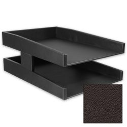 Classic Espresso Double Leather Letter Tray