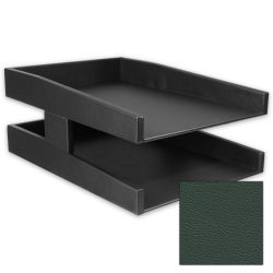 Classic Forest Green Double Leather Letter Tray