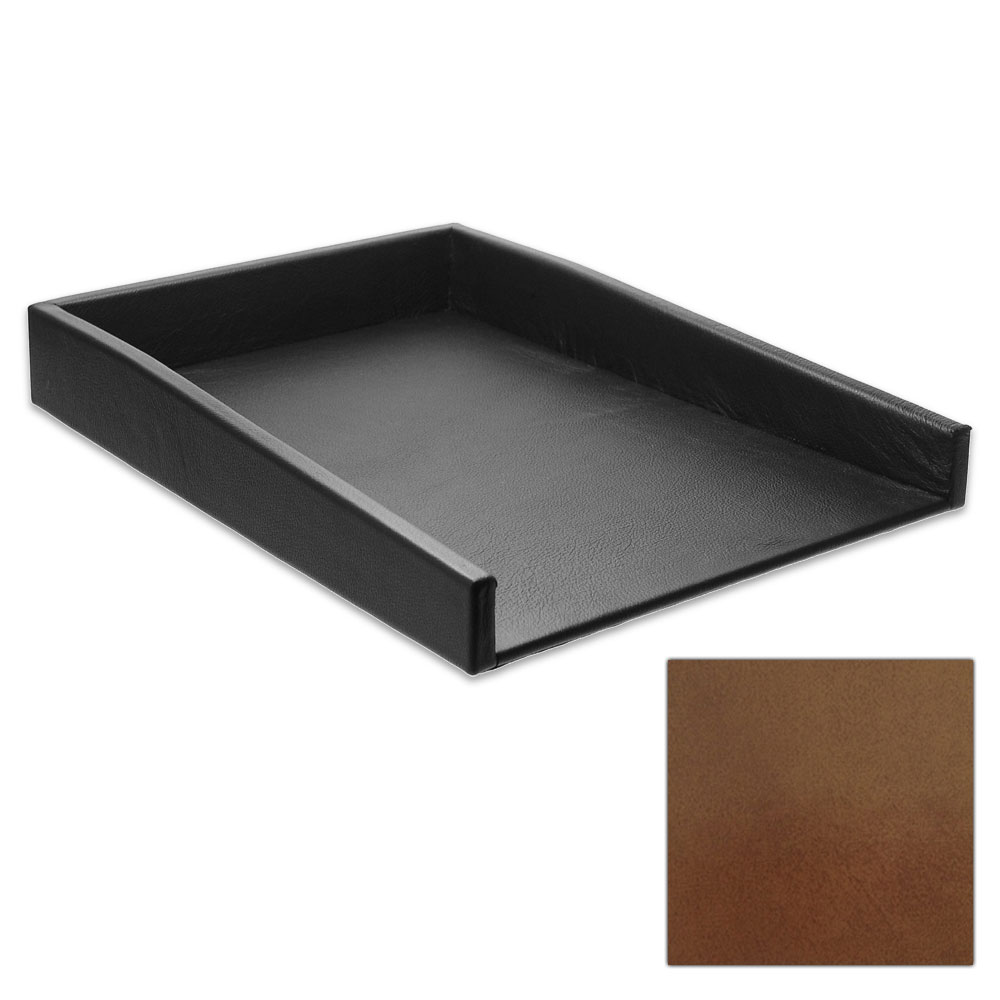 Gloss Honey Leather Letter Tray