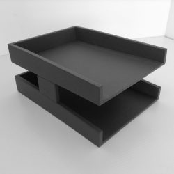 Grey Executive Leather Letter Tray
