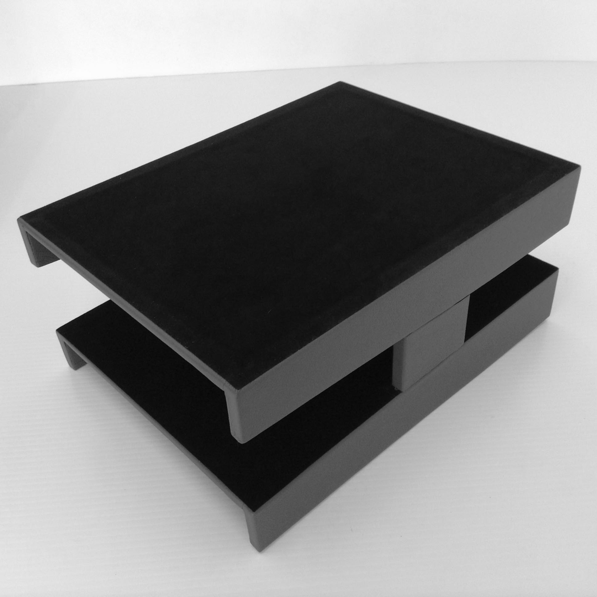 Grey Leather Double Letter Tray Inbox Amp Outbox