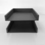 Grey Executive Leather Letter Tray Front