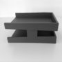 Grey Executive Leather Letter Tray Side