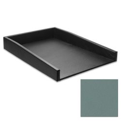 Caribbean Blue Leather Letter Tray