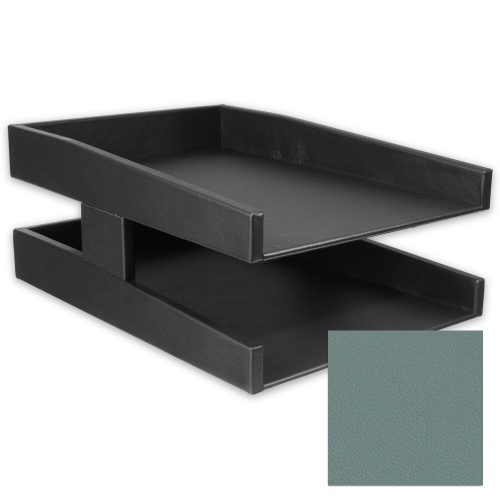 Caribbean Blue Double Leather Letter Tray