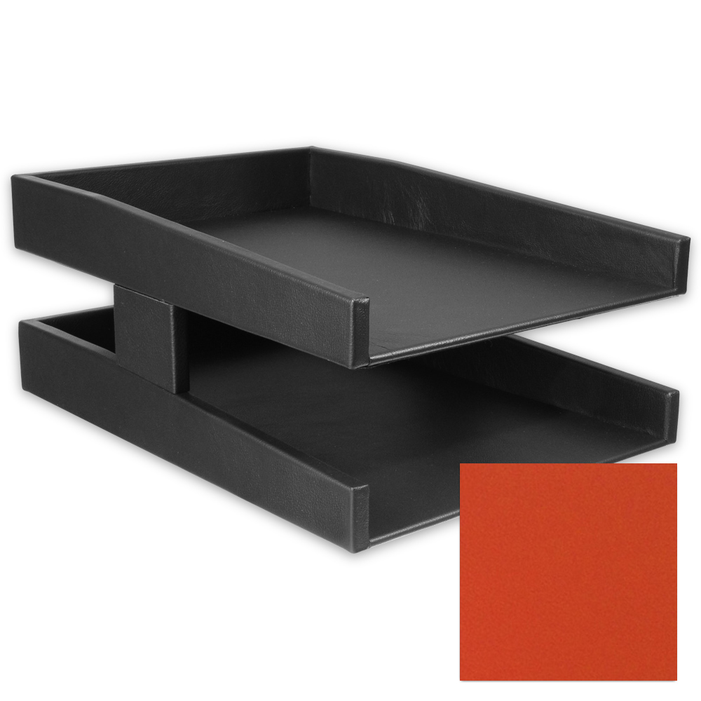 Carrot Orange Double Leather Letter Tray