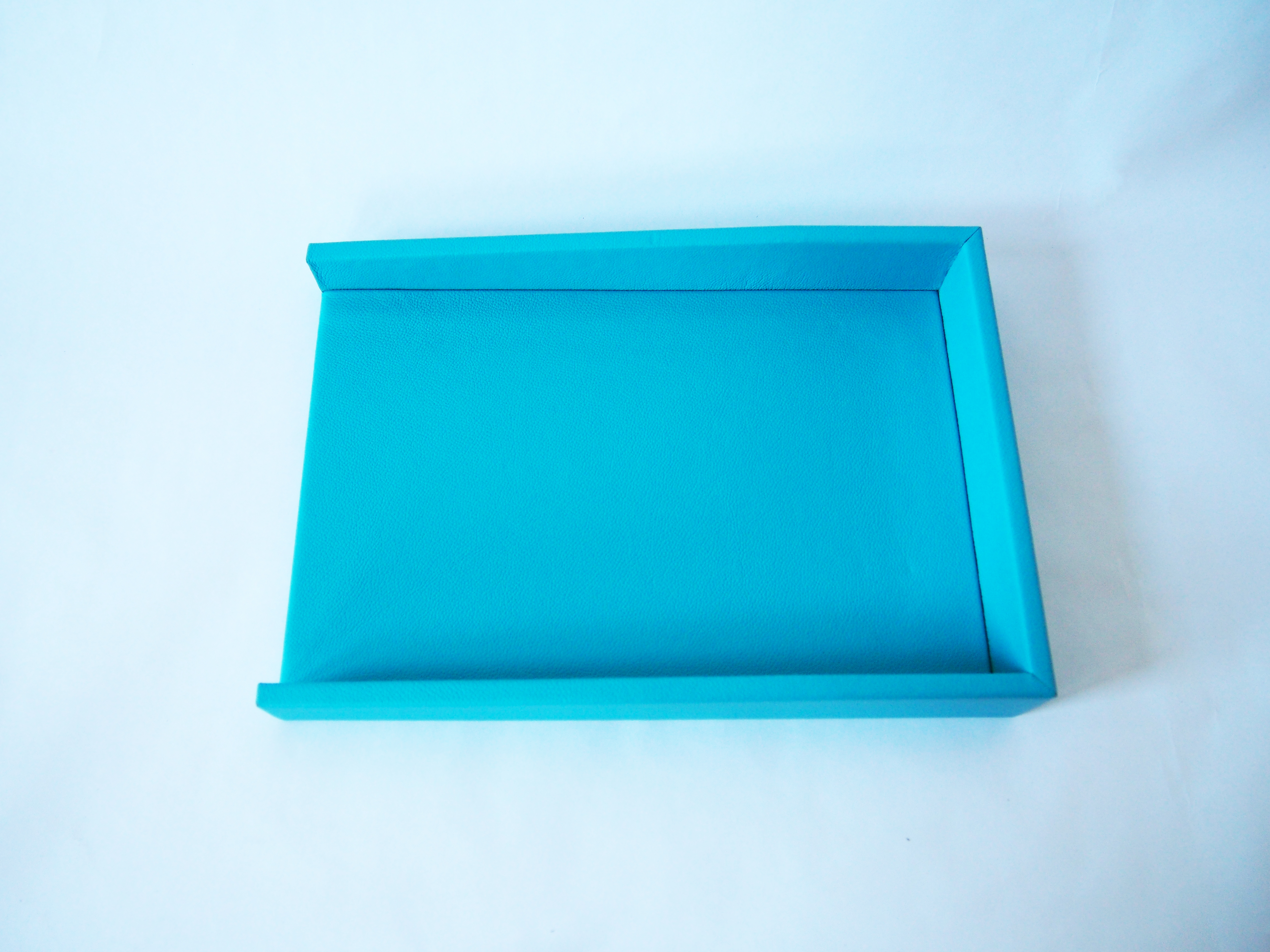 Turquoise leather letter tray legal sized desktop paper for Legal letter tray