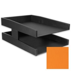 Pumpkin Orange Double Leather Letter Tray