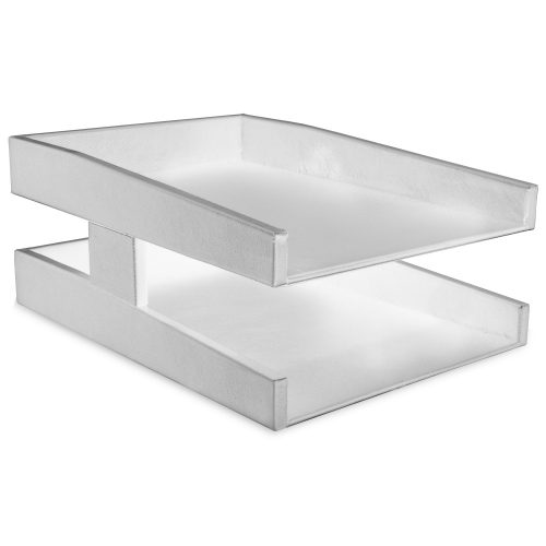 White Double Leather Letter TrayWhite Double Leather Letter Tray