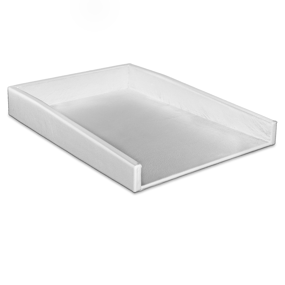 White Leather Letter Tray