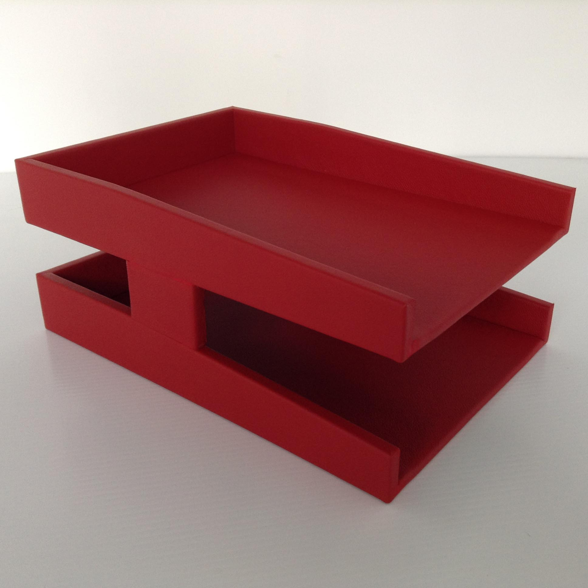 Red leather double letter tray legal sized inbox outbox for Legal letter tray