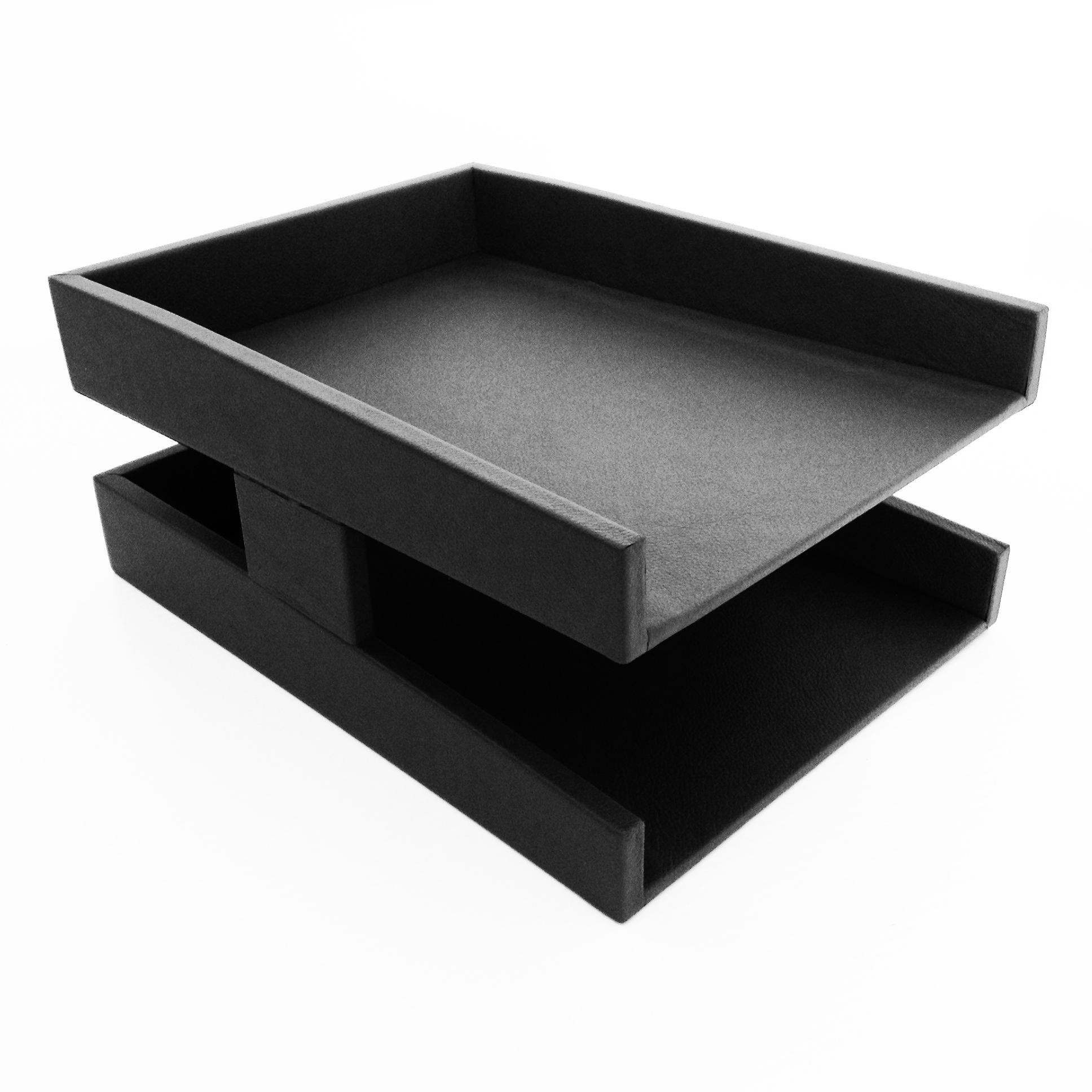 Black Executive Leather Letter Tray