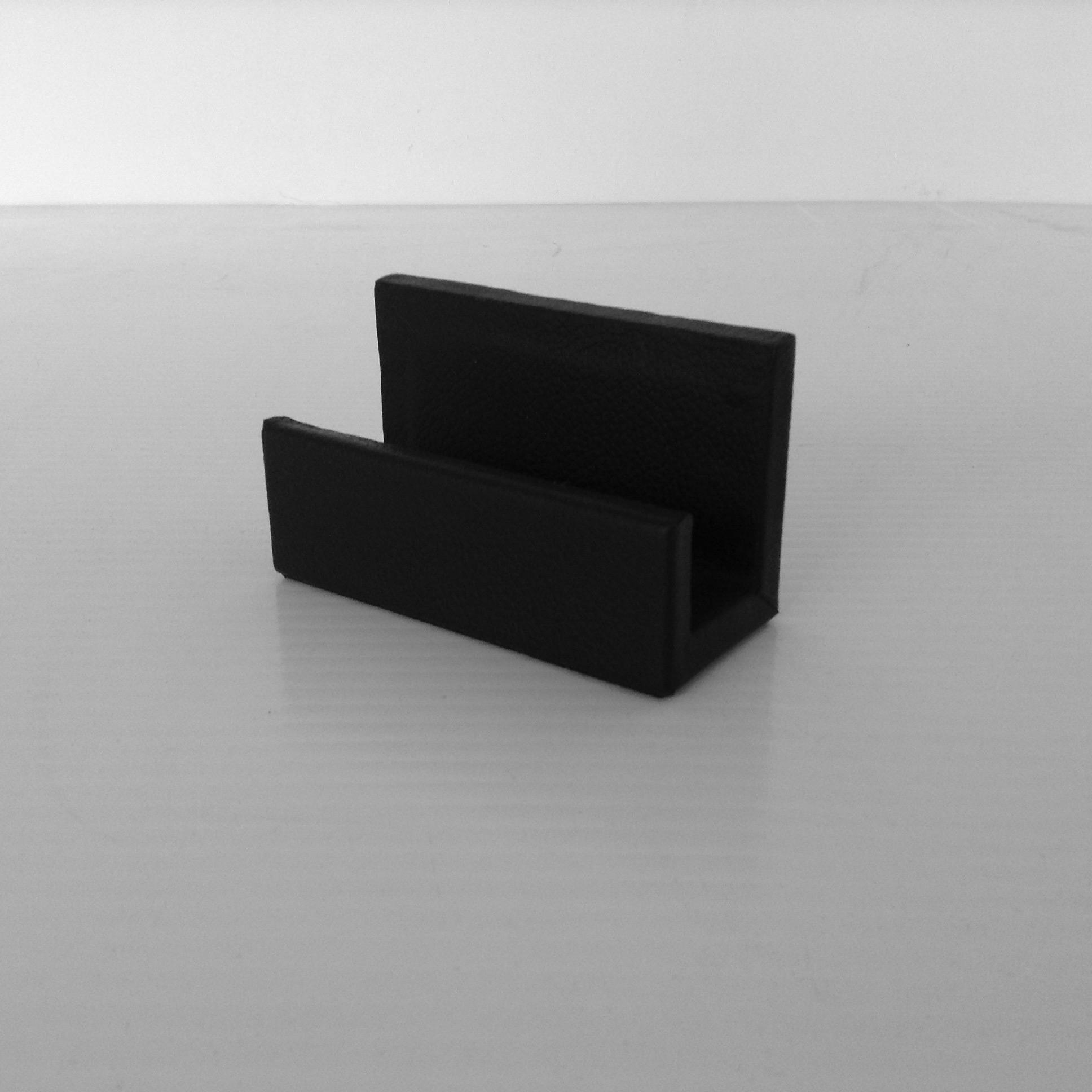 Black Leather Desktop Business Card Holder