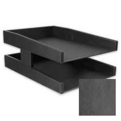 Distressed Anthracite Leather Double Letter Tray