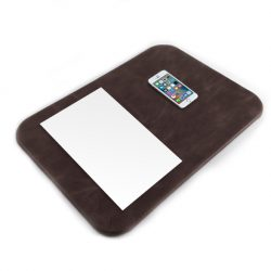 Distressed Chocolate Brown Leather Desk Pad